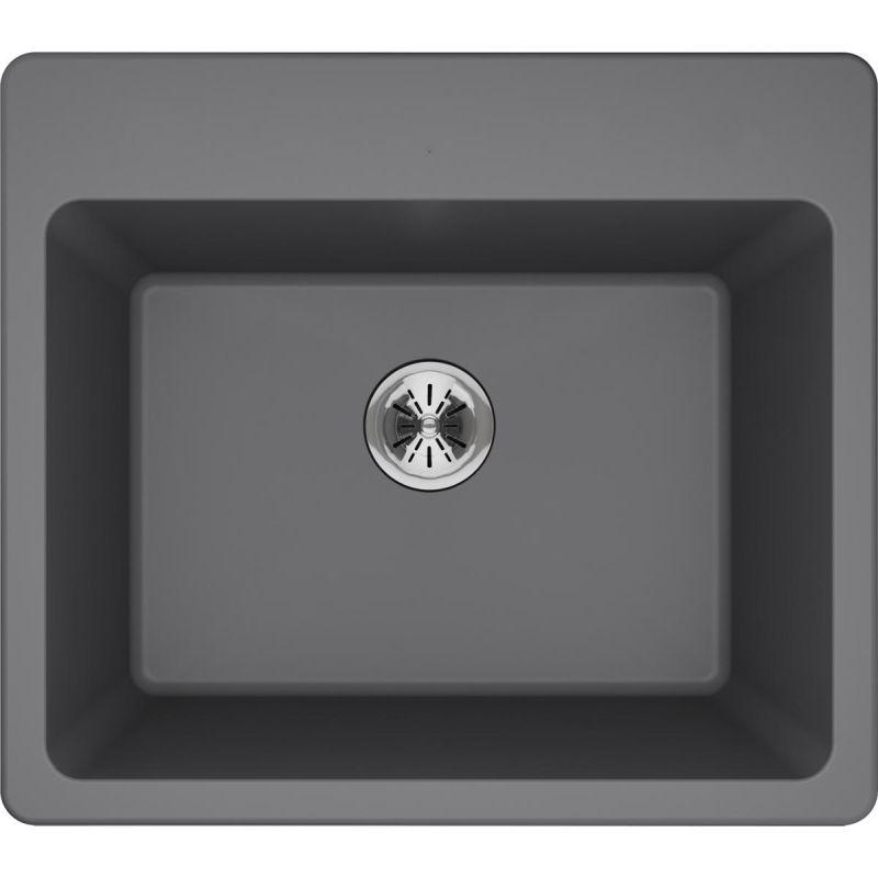 "Elkay ELG252212PDGS0 Quartz Classic 25"" x 22"" x 11-13/16"" Top Mount Laundry Sink with Perfect Drain, Greystone"