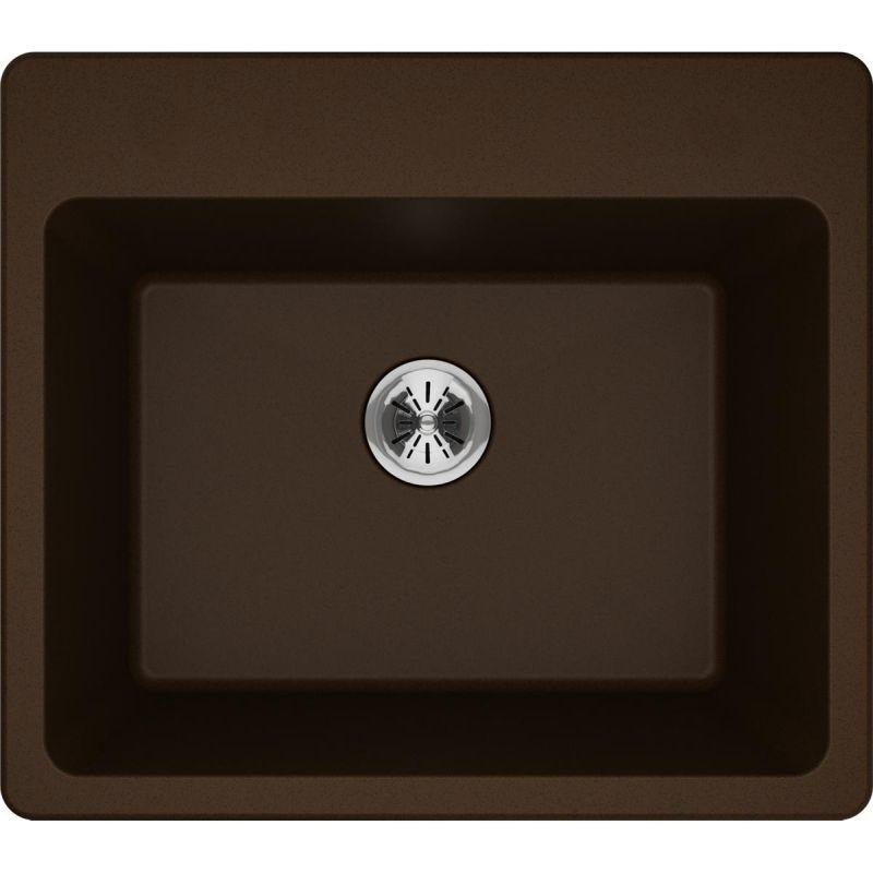 "Elkay ELG252212PDMC0 Quartz Classic 25"" x 22"" x 11-13/16"" Top Mount Laundry Sink with Perfect Drain, Mocha"