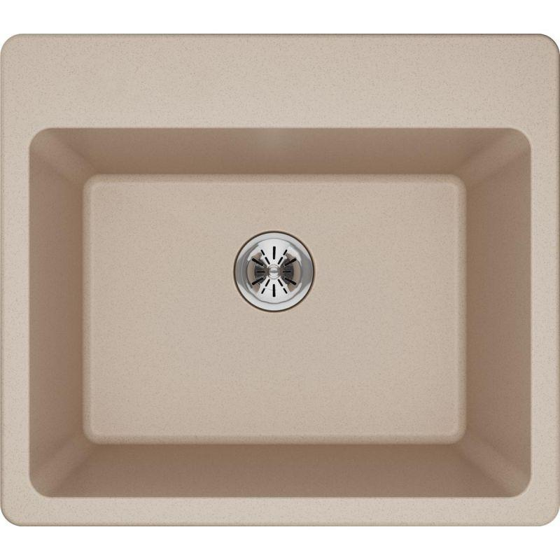 "Elkay ELG252212PDPT0 Quartz Classic 25"" x 22"" x 11-13/16"" Top Mount Laundry Sink with Perfect Drain, Putty"