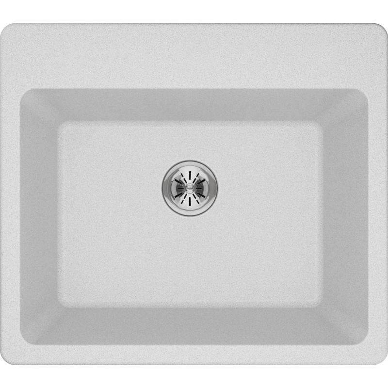 "Elkay ELG252212PDWH0 Quartz Classic 25"" x 22"" x 11-13/16"" Top Mount Laundry Sink with Perfect Drain, White"