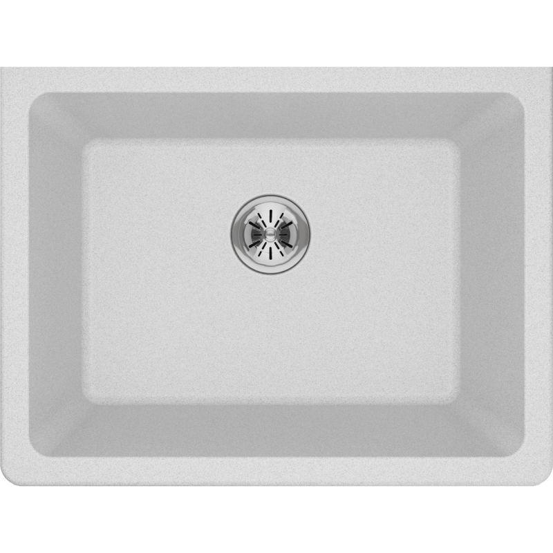 "Elkay ELGU251912PDWH0 Quartz Classic 25"" x 18-1/2"" x 11-13/16"" Undermount Laundry Sink with Perfect Drain, White"