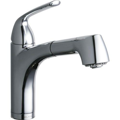 Elkay LKGT1042CR Gourmet Single Hole Bar Faucet Pull-out Spray and Lever Handle Chrome