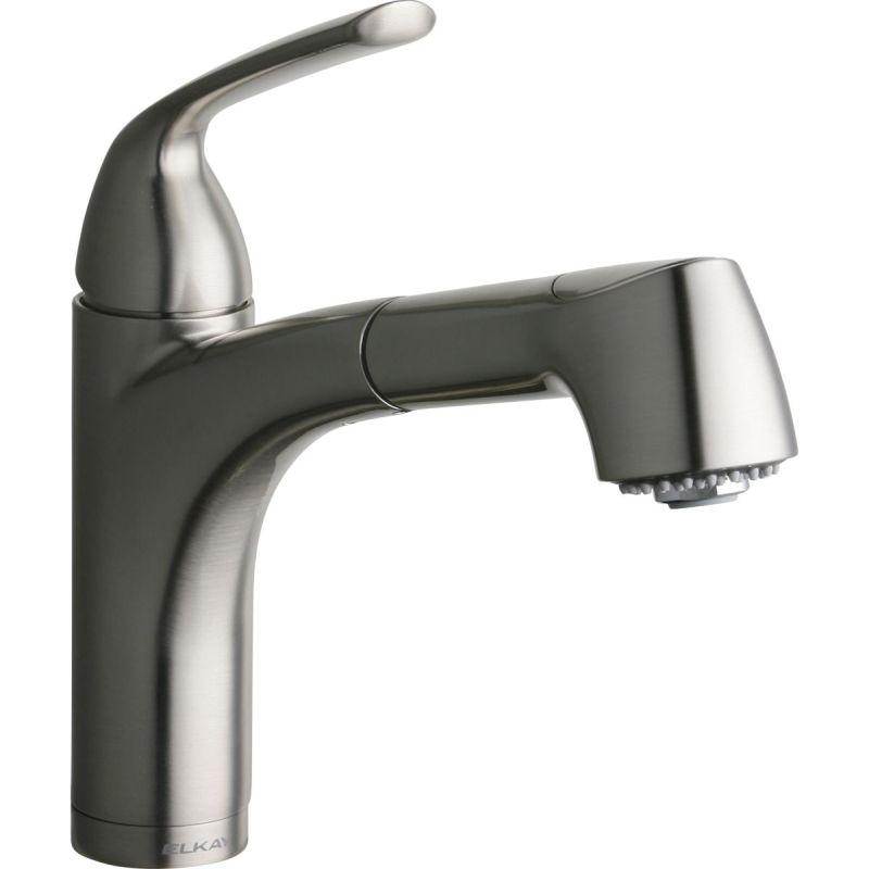 Elkay LKGT1042NK Gourmet Single Hole Bar Faucet Pull-out Spray and Lever Handle Brushed Nickel