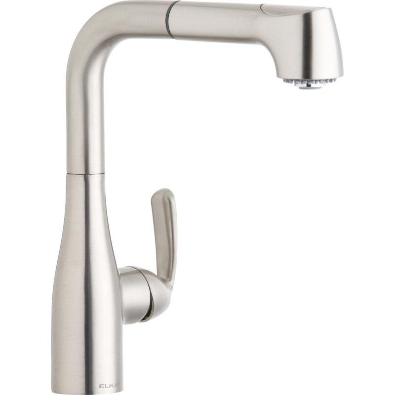 Elkay LKGT2042NK Gourmet Single Hole Bar Faucet with Pull-out Spray and Lever Handle Brushed Nickel