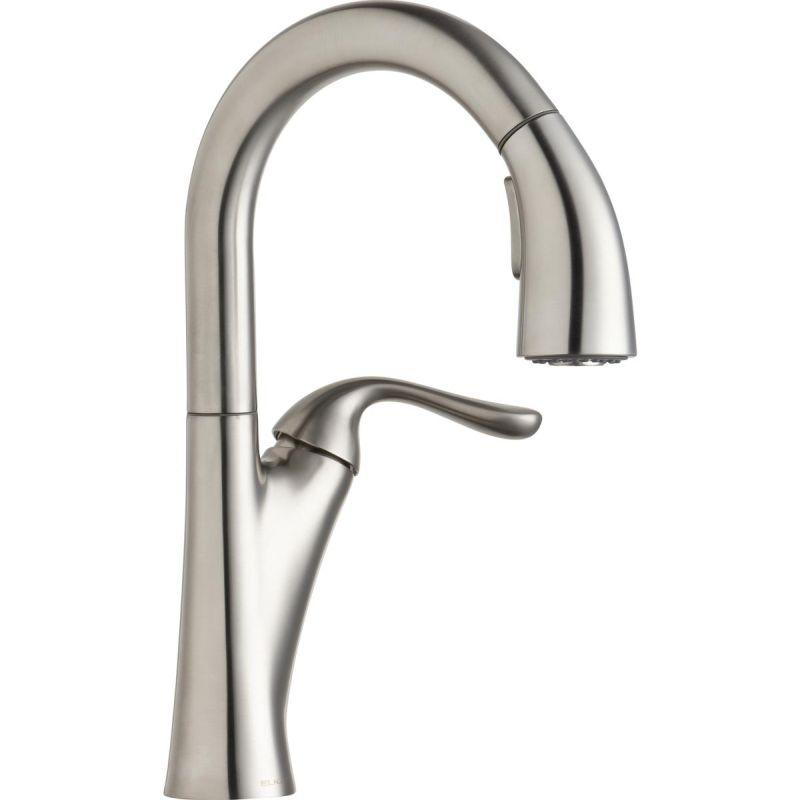 Elkay LKHA4032LS Harmony Single Hole Bar Faucet with Pull-down Spray and Forward Only Lever Handle Lustrous Steel