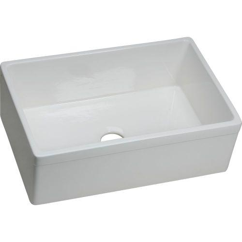 "Elkay SWUF28179WH Fireclay 29-7/8"" x 19-3/4"" x 10-1/16"", Single Bowl Farmhouse Sink, White"