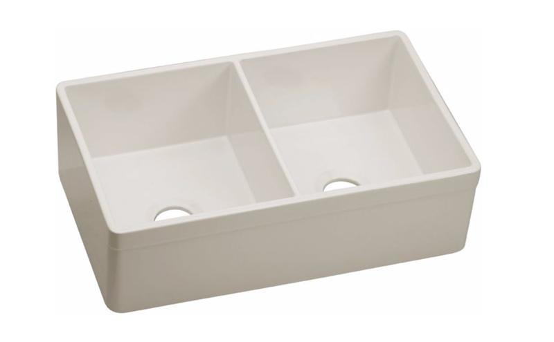 "Elkay SWUF32189BI Fireclay 33"" x 19-15/16"" x 10-1/8"", Equal Double Bowl Farmhouse Sink, Biscuit"