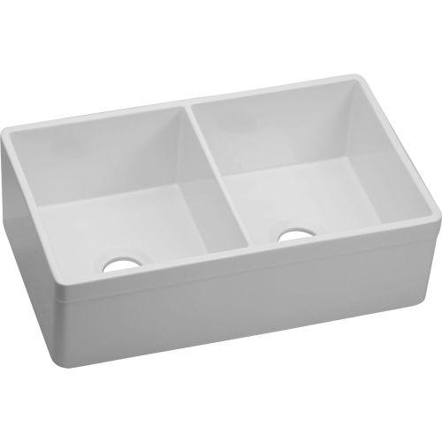 "Elkay SWUF32189WH Fireclay 33"" x 19-15/16"" x 10-1/8"", Equal Double Bowl Farmhouse Sink, White"