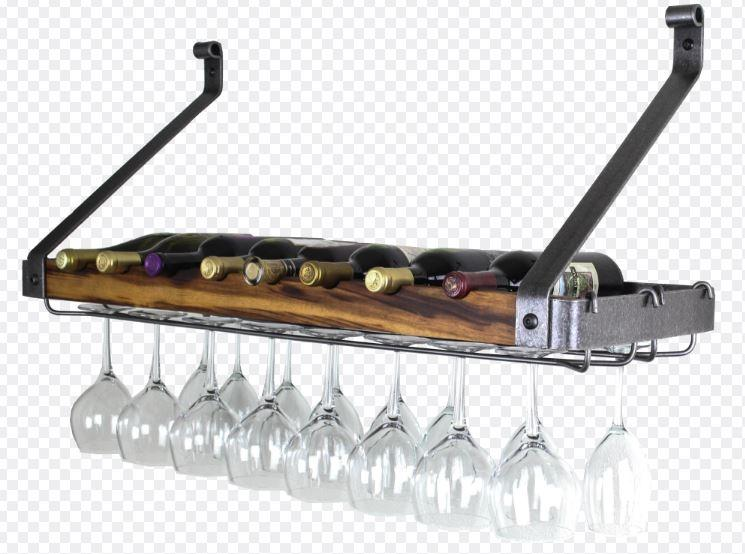 "Enclume SWSR2-24HSTW Signature 24"" Bookshelf Wine Rack Hammered Steel/Tigerwood (8 Bottles)"