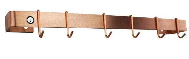 "Enclume WR3SCP 36"" Classic Wall Rack Utensil Bar w/ 6 Hooks Brushed Copper"