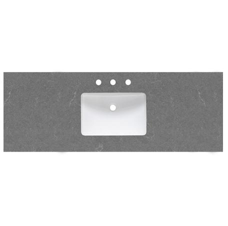 "Fairmont Designs TQ2-S6122SG8 2cm (3/4"") 61"" Single Bowl Spectre Gray (SG) Quartz Top - 8"" widespread"
