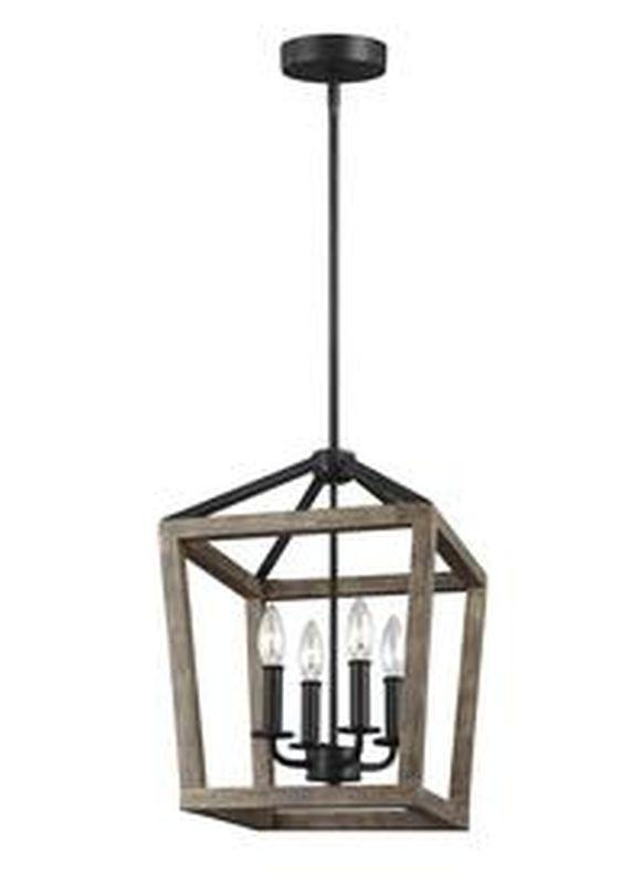 Feiss F3190-4WOW-AF Gannet Light Chandelier Weathered Oak Wood / Antique Forged Iron