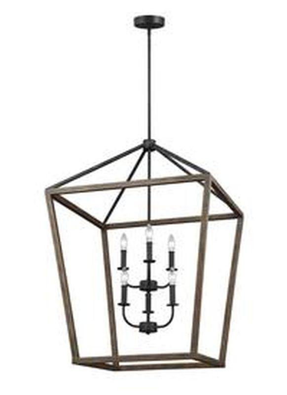 Feiss F3192-6WOW-AF Gannet Light Chandelier Weathered Oak Wood / Antique Forged Iron