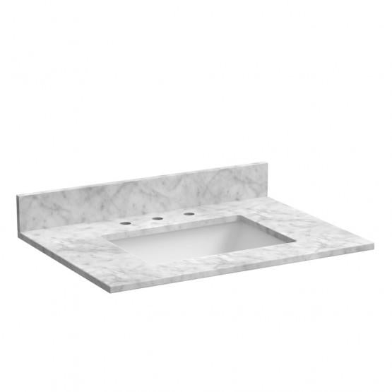 "Foremost ST31228CWR 31"" Marble top, Carrara, Rectangular Bowl"
