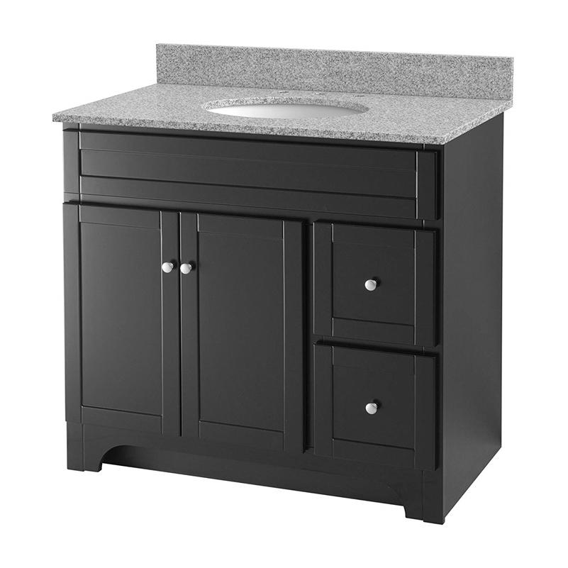 "Foremost WREAT3621D-8M Worthington 36"" Espresso Vanity W Rushmore Grey Granite Top"
