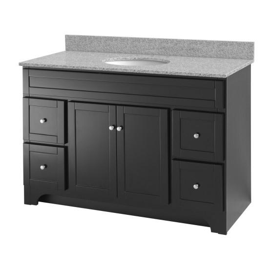 "Foremost WREAT4821D-8M Worthington 48"" Espresso Vanity W Rushmore Grey Granite Top"