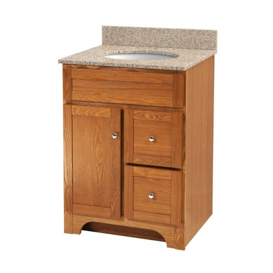 "Foremost WROAT2421D-8W Worthington 24"" Oak Vanity W Mohave Beige Granite Top"
