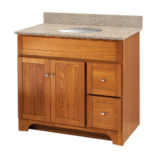 "Foremost WROAT3621D-8W Worthington 36"" Oak Vanity W Mohave Beige Granite Top"
