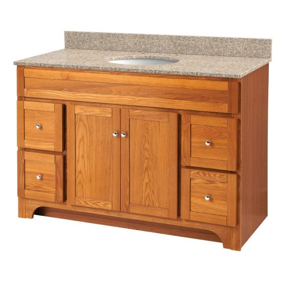 "Foremost WROAT4821D-8W Worthington 48"" Oak Vanity W Mohave Beige Granite Top"
