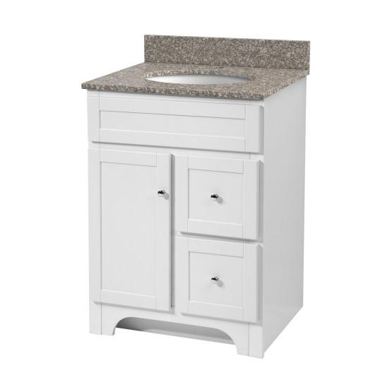"Foremost WRWAT2421D-8M Worthington 24"" White Vanity W Rushmore Grey Granite Top"