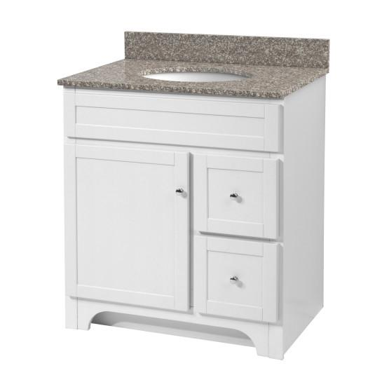 "Foremost WRWAT3021D-8M Worthington 30"" White Vanity W Rushmore Grey Granite Top"