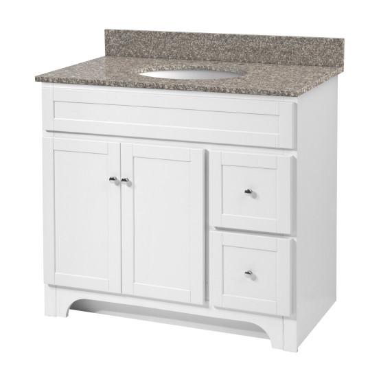 "Foremost WRWAT3621D-8M Worthington 36"" White Vanity W Rushmore Grey Granite Top"