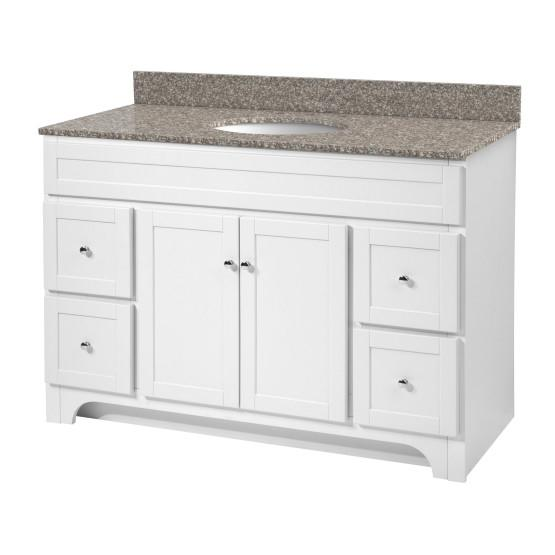 "Foremost WRWAT4821D-8M Worthington 48"" White Vanity W Rushmore Grey Granite Top"