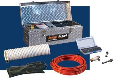 "General Wire JM1000B Mini-Jet Package w/13 Amp Motor w/GCI, 1500 PSI/ 1.4 GPM Pump, Rubber Gloves, 50' x 1/8"" Hose, 4 Piece Nozzle Set, Water Supply Hose, Shut Off Valve, Universal Faucet Adapter, Threaded Faucet Adapter"