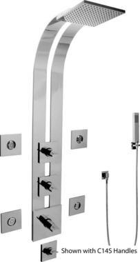 Graff Solar G-8850-LM31S-PC-T Shower Panel and Handles Polished Chrome
