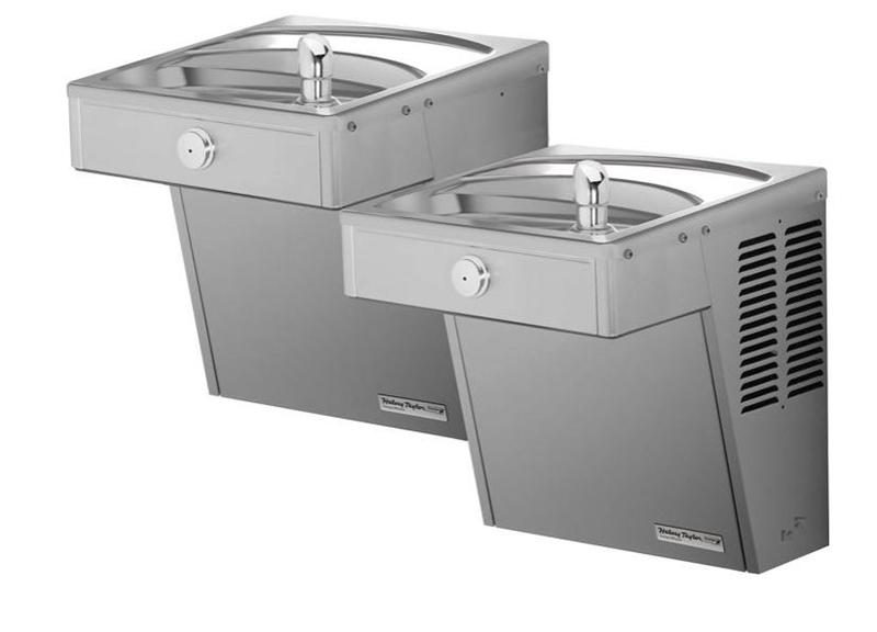 HALSEY TAYLOR 875100FW83 Halsey Taylor Wall Mount Vandal-Resistant Bi-Level ADA Cooler, Frost Resistant Non-Filtered Non-Refrigerated Stainless