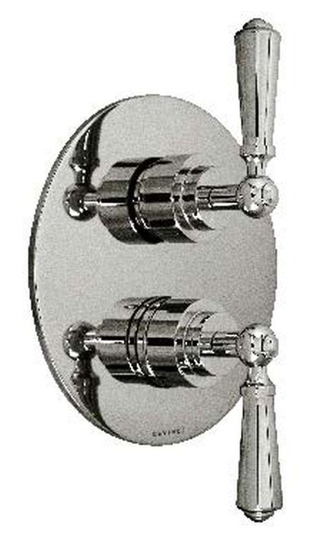 Harrington Brass 32-386N3T-56-014 Chelsea Lever -Thermostatic Trim w/ Solid Brass Round Plate w/ Two Handles, Polished Nickel