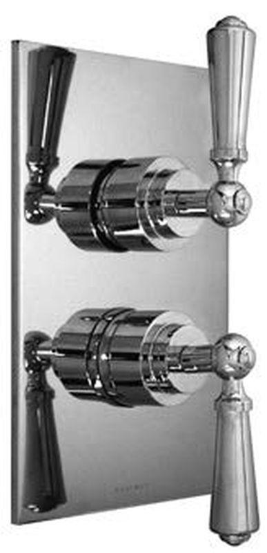 Harrington Brass 32-386N4T-56-014 Chelsea Lever-Thermostatic Trim w/ Solid Brass Square Plate w/ Two Handles, Polished Nickel