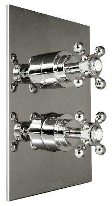 Harrington Brass 35-386N4T-20-015 Monterey-Thermostatic Trim w/ Solid Brass Square Plate w/ Two Handles, Satin Nickel