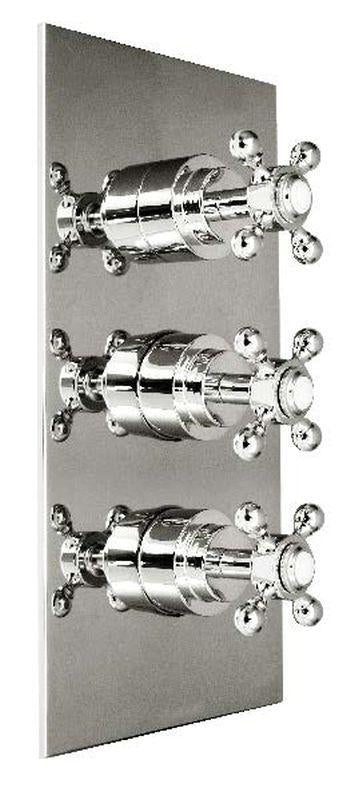 Harrington Brass 35-387N3T-20-015 Monterey-Thermostatic Trim w/ Solid Brass Square Plate w/ Three Handles, Satin Nickel