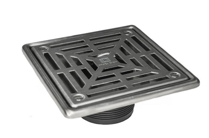 "Infinity Drain LW52I-PS 5"" x 5"" LW5 Strainer Polished Stainless with 2"" Cast Iron No Hub Drain Body"