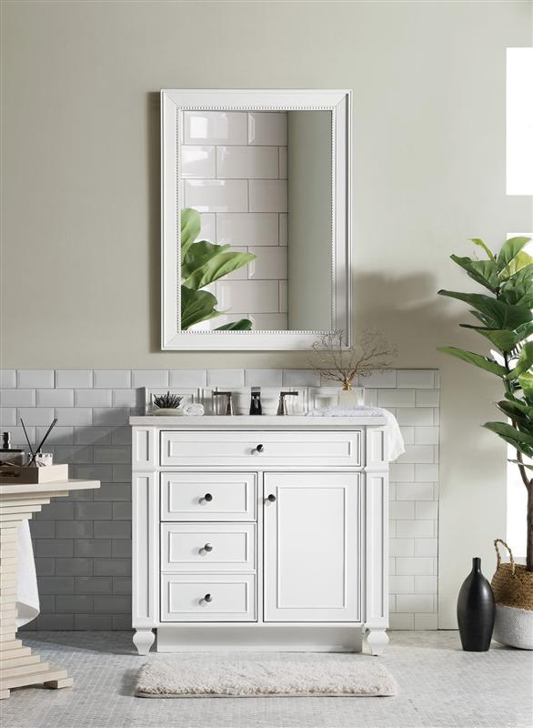 "James Martin 157-V36-CWH-3CAR Bristol 36"" Single Vanity, Cottage White with 3 CM Carrara Marble Top"