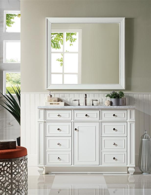 "James Martin 157-V48-CWH-3CAR Bristol 48"" Single Vanity, Cottage White with 3 CM Carrara Marble Top"