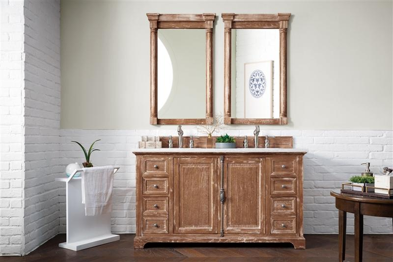 "James Martin 238-105-5611-3CAR Providence 60"" Driftwood Double Vanity with 3 CM Carrara Marble Top"