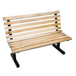 "John Boos CPB72-M Park Bench w/Back 72"", Maple W/Back Black"