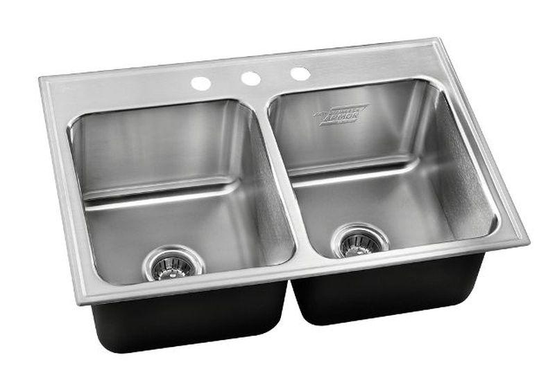 Just DLXD-2233-16-GR-3 STAINLESS ARMOR DOUBLE BOWL DROP-IN SINK 16 GAUGE ARMOR HEAVY DUTY INDUSTRIAL GRADE STAINLESS STEEL EXTRA DEEP W/ FAUCET LEDGE