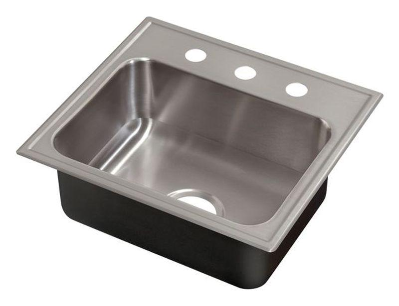 Just SL1921A3 Single Bowl Drop-In 18 Gauge w/ Faucet Ledge Stainless Steel Sink