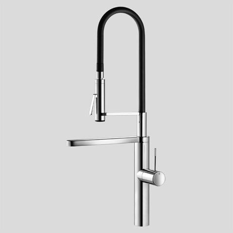 KWC 10.151.423.700 Ono Single-Hole Kitchen Faucet w/Swivel Spout & Dual Function Pre-Rinse Spray Solid Stainless Steel