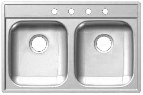 "Kindred FDS804N Drop In 22"" x 33"" x 8"" Stainless Steel Double Bowl Kitchen Sink"