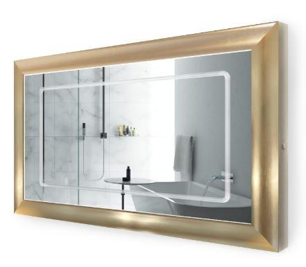 "Krugg Elsie4830 LED Lighted 48""x30"" Bath Gold Frame Mirror w/Defogger"