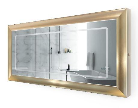 "Krugg Elsie6030 LED Lighted 60""x30"" Bath Gold Frame Mirror w/Defogger"