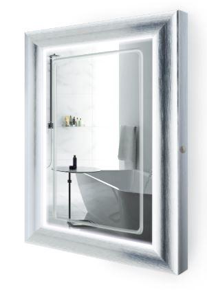 "Krugg ElsieS2436 LED Lighted 24""x36"" Bath Satin Silver Framed Mirror w/Defogger"