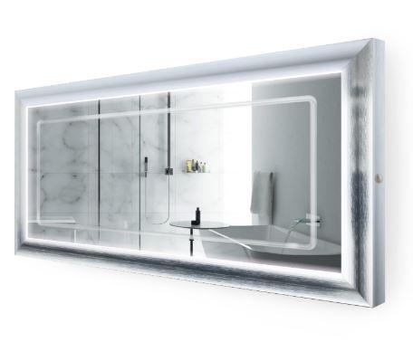 "Krugg ElsieS6030 LED Lighted 60""x30"" Bath Satin Silver Framed Mirror w/Defogger"