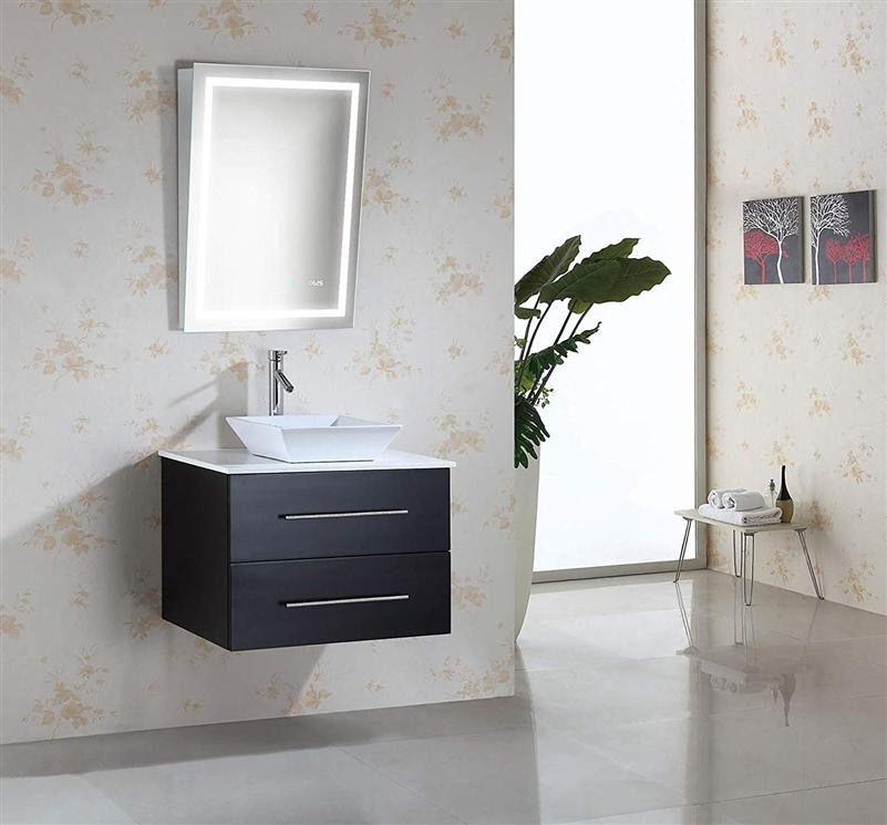 "Krugg Icon2432ADA 24""x32"" LED Bath Mirror ADA Fixed Tilt Lighted Vanity Mirror + Digital Clock 4000K"
