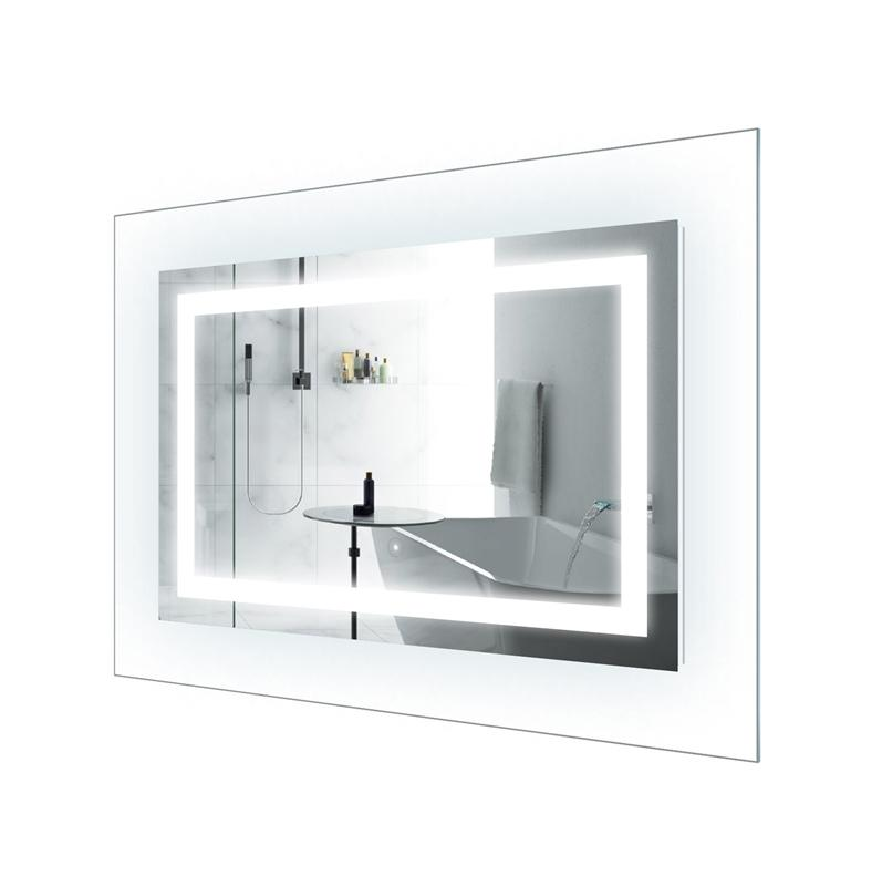 "Krugg Norte4230 LED Lighted 42""x30"" Bath Mirror with Glass Frame Horizontal or Vertical Installation"