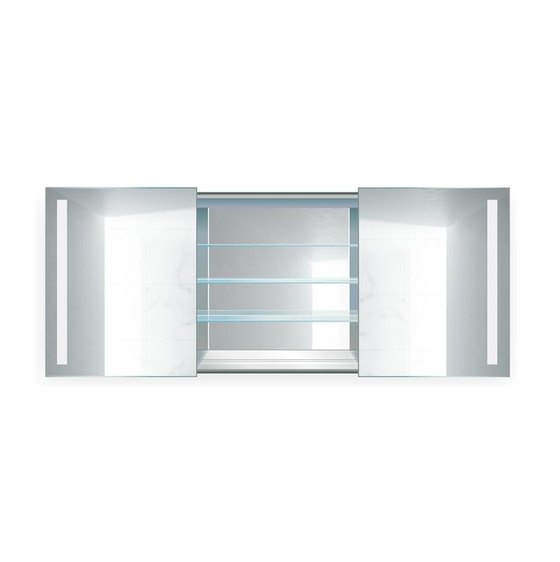 "Krugg Rolls4830 LED Medicine Cabinet 48""x30"" Lighted 2 Sliding Mirror Doors & Defogger + 3 Glass Shelves"